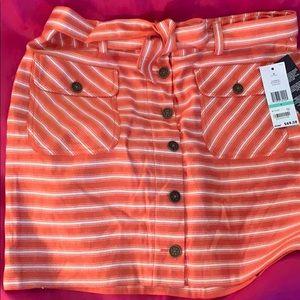 Tommy Hilfiger - orange and white mini skirt.